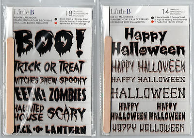 Little B rub-ons~HALLOWEEN~All Words~2 sheets per pkg.~So Nice & USEFUL!