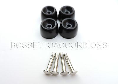 4 x Füße Akkordeon //Ersatzteile neu,feet for accordion,New+Schrauben 4 Stück