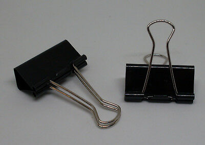 12 Foldbackklammern ( Binder Clips ) 41mm schwarz metal Bügel Bürobedarf Neu OVP