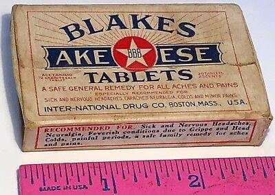 VINTAGE BLAKES AKE-ESE TABLETS EMPTY BOX INTER-NATIONAL DRUG CO. BOSTON MASS
