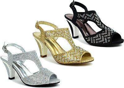 Ladies New Stone Establishment Block Heel Peep Toe Strictly Sandal UK Size 3-8 Heel Peep Toe Sandale