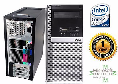 Dell Tower Windows Pro Xp Sp3 Computer Intel Core 2 Duo 4GB RAM 120gb SSD DVD-RW