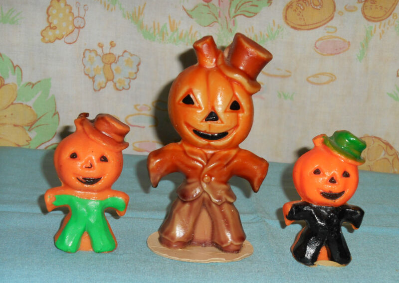 vintage Halloween GURLEY CANDLE LOT OF 3 large small scarecrow brown green black