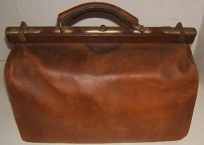 Vintage Leather Medical Doctors Bag with Metal  & Brass Frame 1