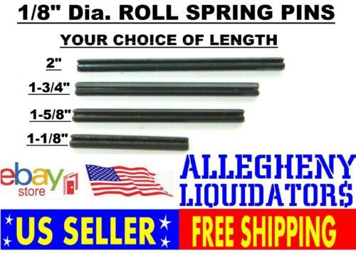 "VARIOUS LENGTHS x 1/8"" DIAMETER PLAIN BLACK STEEL ROLL SPRING PINS USA NH"
