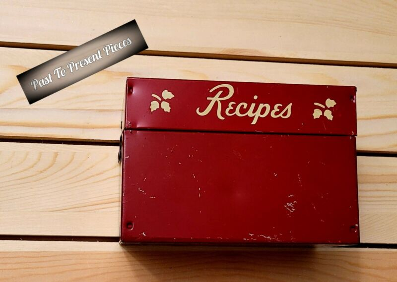 Vintage Red Recipe Tin Box Excellent Used Condition Rare HTF Item Great Gift