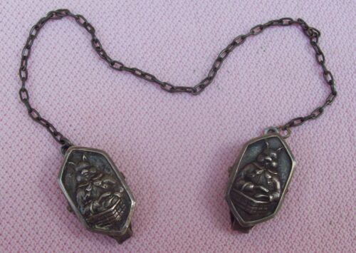 Vintage Antique WEBSTER Sterling Silver Bunny Bib Sweater Clips Baby Shower Gift