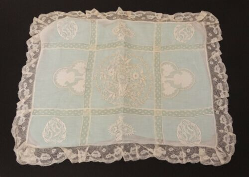 ANTIQUE VICTORIAN CREAM IVORY LACE PILLOW SHAM FINE EMBROIDERY