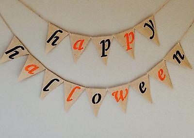 Halloween Happy Halloween Bunting Banner Hessian Burlap - Burlap Happy Halloween Banner