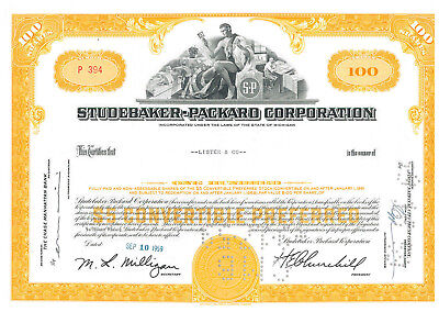 Ultimate Studebaker Packard Worthington stock certificate collection > set of 9