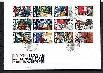 """Liechtenstein 1984 FDC  """" Mensch und Arbeit """" Mich. Nr. 849-860"""