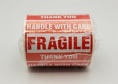 100 3x2 Fragile Stickers Handle With Care Thank You Mailing Labels Self Adhesive