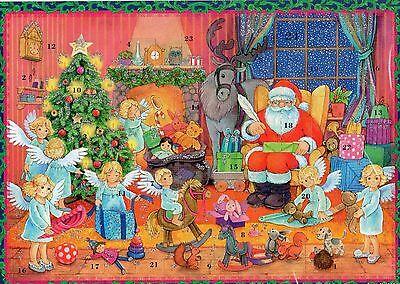 1 Sellmer Adventskalender mit Glimmer Weihnachtsmann und Engel Geschenke Nr.806