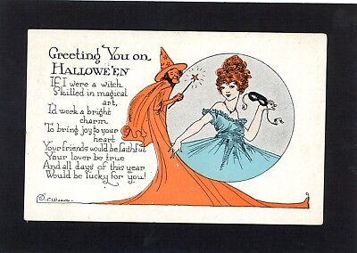 Halloween E.B. Weaver Artist Signed Vintage Postcard