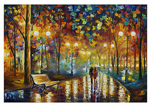 COUPLE IN THE PARK Colourful Landscape Large Wall Art Canvas Picture 20x30
