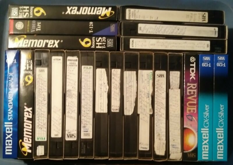 Pre-Recorded T-120 VHS Tapes (6 hour) Used Tapes Sold As Used Blanks Lot of 15
