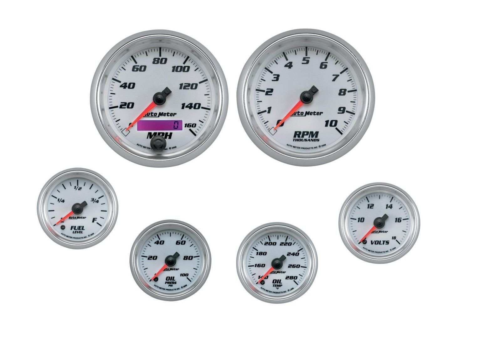 Auto Meter AutoMeter 19701 Gauge Pro-Cycle Bagger Kit 6 Pc White 3 3//8 /& 2 1//16