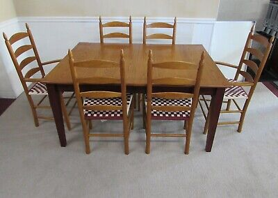 MISSION OAK DINING SET, TABLE AND SIX LADDERBACK CHAIRS by ATHOL