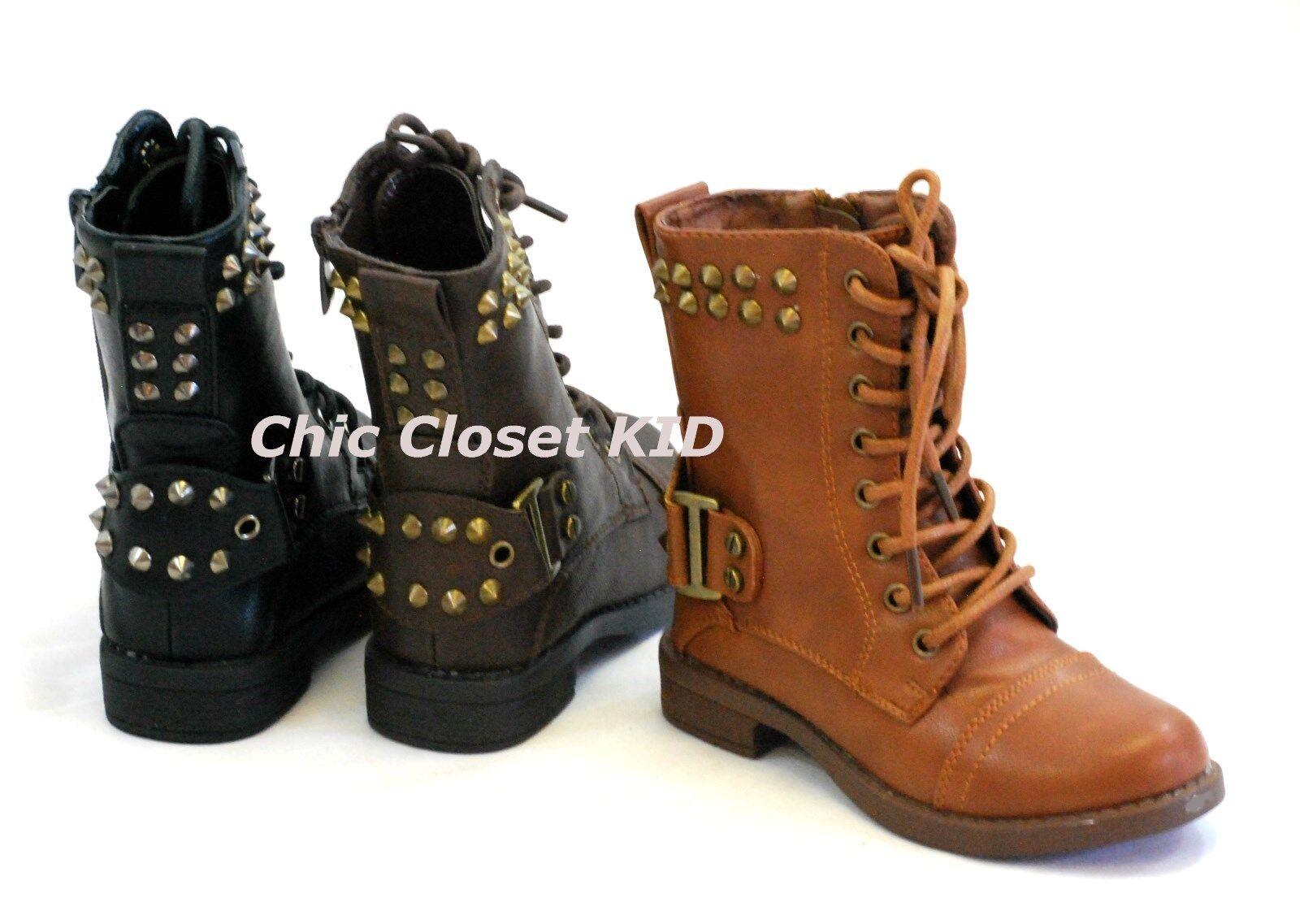 Girls Children Combat Studded Fashion Mid Calf Tall Boots ...
