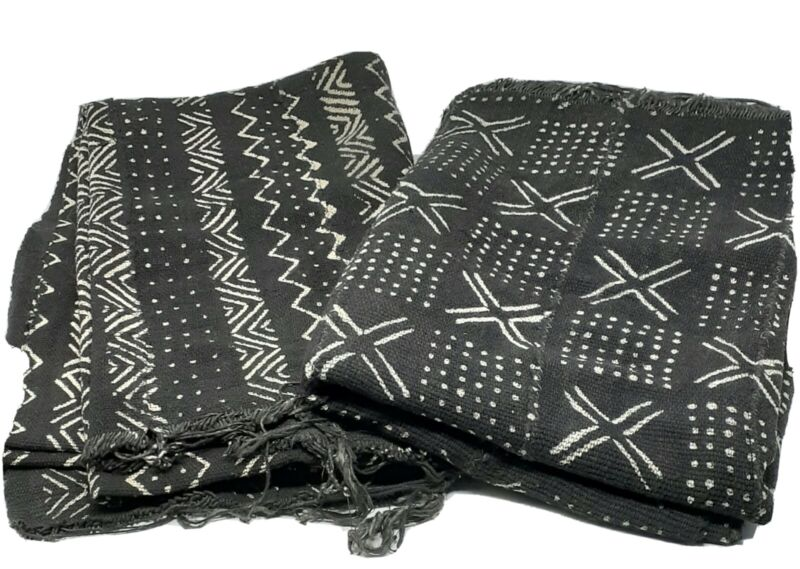 """Authentic African Mud Cloth Fabric Mali Approx 45""""x63"""" Black /White Mudcloth"""