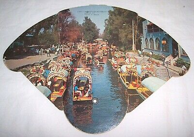 Vintage Tri-Fold Paper Hand Fan Miguel Aleman Mexico Xochimilco Canals Boats
