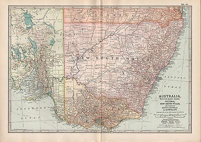 1903 BRITANNICA ANTIQUE MAP AUSTRALIA SOUTH EAST VICTORIA NEW SOUTH WALES MELBOU