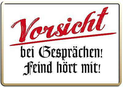 VORSICHT FEIND HÖRT MIT FUNSCHILD - 10x15 cm Blechkarte Blechschild 15013