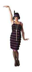 FANCY-DRESS-COSTUME-LADIES-1920s-PURPLE-BLACK-FLAPPER-DRESS-SIZE-8-18