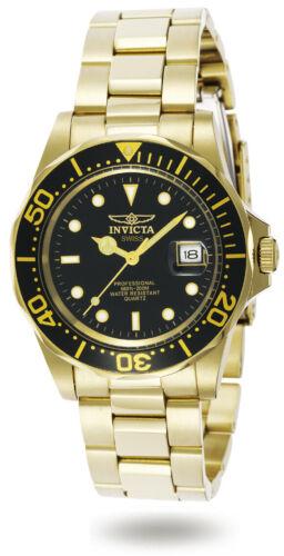 Invicta Mens Watch Pro Diver Quartz Dive Black Dial Yellow Gold Bracelet 9311