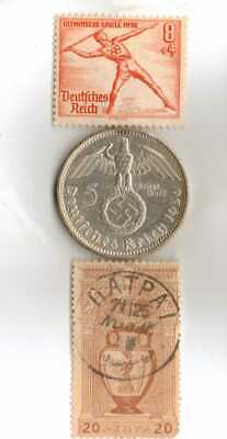*Greece *1896-Olympic Stamp+*1936-*german Olympic stamp and-SILVER-.900%-coin