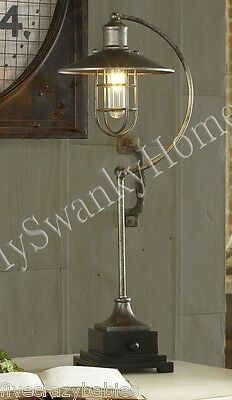 Contemporary INDUSTRIAL LANTERN Buffet Lamp Silver Metal Modern Retro Table ()