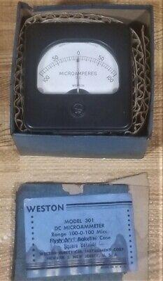 Weston Model 301 Dc Microammeter Panel Meter 100-0-100 Mics Bakelite Case