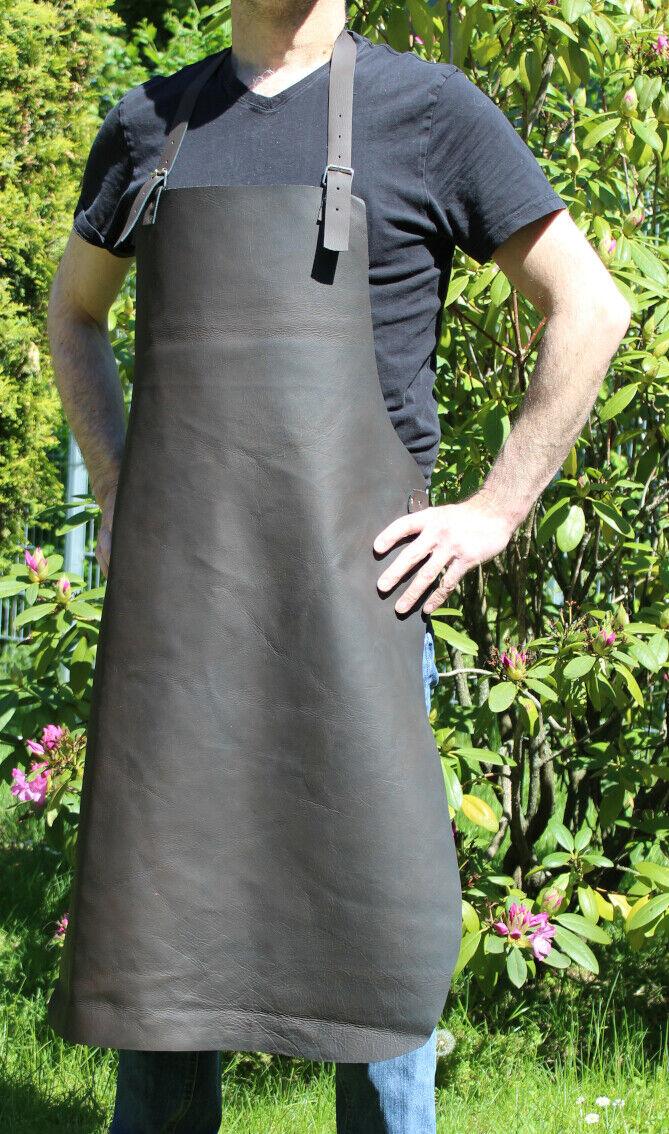 Tolle Arbeitsschürze, Lederschürze aus Büffelleder in schwarz braun, Vintage