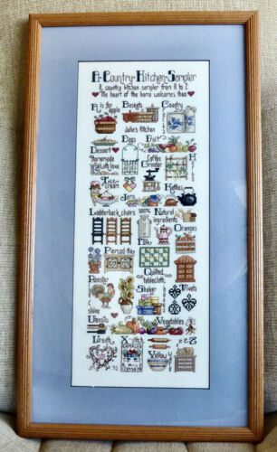 FINISHED/FRAMED/MAT/GLASS *A COUNTRY KITCHEN SAMPLER* CROSS-STITCH PICTURE 13x23