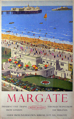 Vintage Rail advertising travel railway poster  A4 RE PRINT Margate