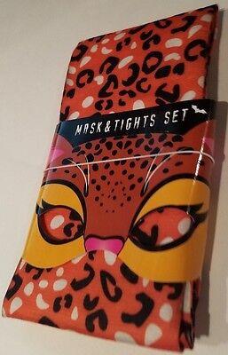 Halloween Costume Brand Names (Womens No Name Brand Halloween Orange Leopard Print Mask & Tights Set Size)