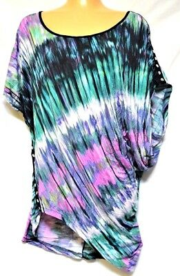 TS top TAKING SHAPE plus sz XXS / 12 Rainbow Tee funky soft draping NWT rrp$110!
