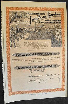 Belgisch Kongo Platations Jules van Lancker Aktie 1927 dekorativ Kolonie