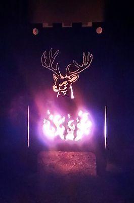 60 cm robuster Feuerkorb Motiv Hirsch und Flammen Feuerschale TOP