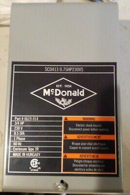 Mcdonald 34 Hp Submersible Deep Well Pump Control Box 230v
