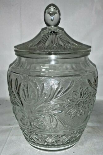 VINTAGE ANCHOR HOCKING SANDWICH DEPRESSION CLEAR GLASS COOKIE JAR WITH LID