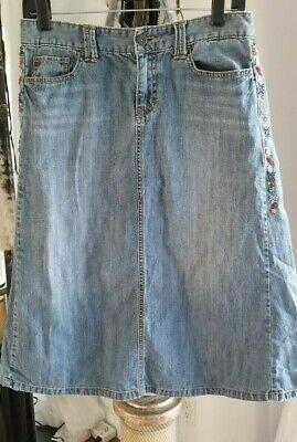 Boho TOMMY HILFIGER Vintage Beaded A Line Midi Length Denim Skirt Jean sz 4