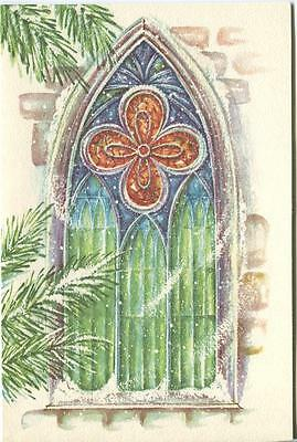 VINTAGE CHRISTMAS STAINED GLASS WINDOW SNOW WIND PINE TREES CARD ART PAPER (Stained Glass Pine Trees)