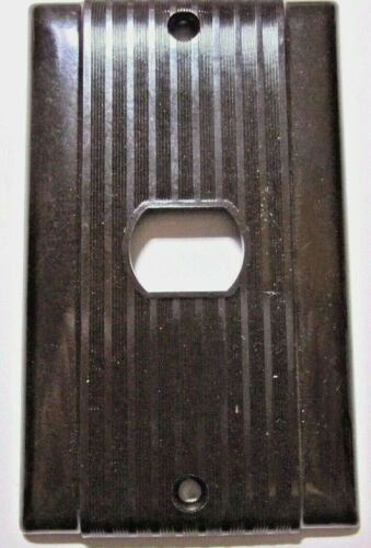 Uniline 1940s Ribbed Brown Bakelite Art Deco Despard Device Wall Plate Cover Vtg