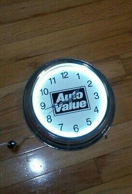 Vintage Neon Auto-Value Certified Service Center Clock. Parts/Repair.