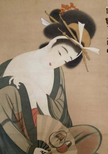 Antique Japanese watercolors on silk Geisha figurine painting scroll