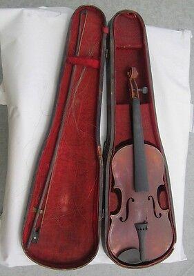 VTG Violin Copy of Antoniua Stradivarius Bow & Coffin Case Czecho Slowakia
