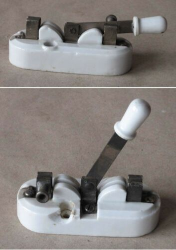 ANTIQUE ELECTRIC INSTRUMENT DEVICE PORCELAIN CHANGE-OVER SWITCH