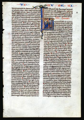 ILLUMINATED MANUSCRIPT MEDIEVAL BIBLE LEAF - c. 1240-55, PARIS - HISTORIATED