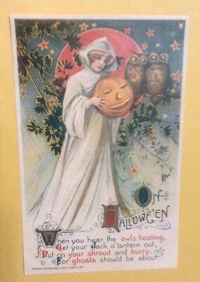 John Winsch Halloween (1911 Halloween Pretty Witch, Twin Owls, Jack o'Lantern John Winsch Postcard)